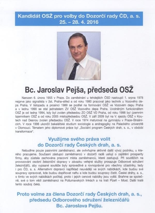 Kandidát OSŽ Jaroslav Pejša